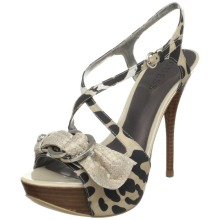 GUESS Women&#8217;s Cow Print Platform Sandal